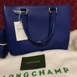 NWT Longchamp Heritage Azure Blue Small Cuir Bag